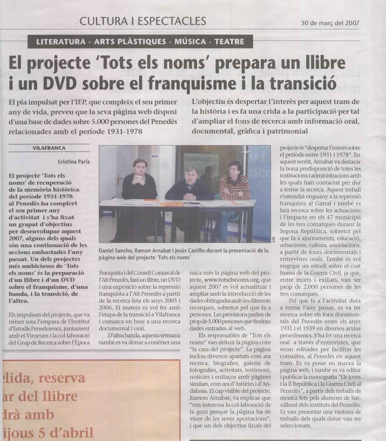 """El projecte """"Tots els noms"""" prepara un llibre i un DVD sobre el franquisme i la transició..."""