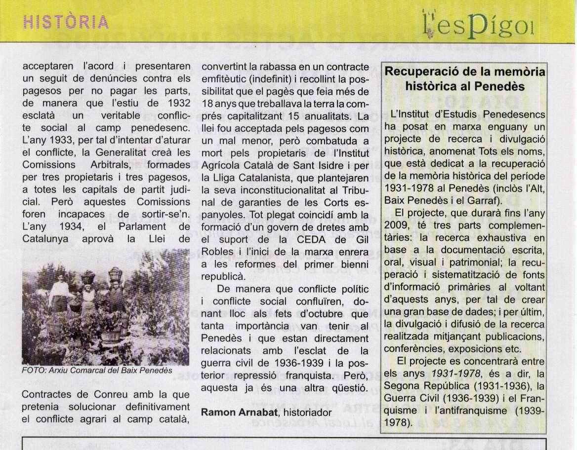 Recuperació de la Memòria Històrica al Penedes...