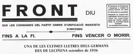 Front Obrer: setmanari del POUM de Sitges, 1936-1937