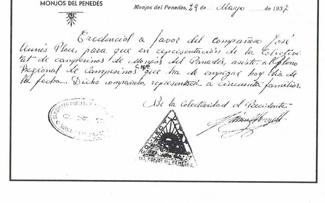 Credencial Colectivitat de Monjos del Penedès