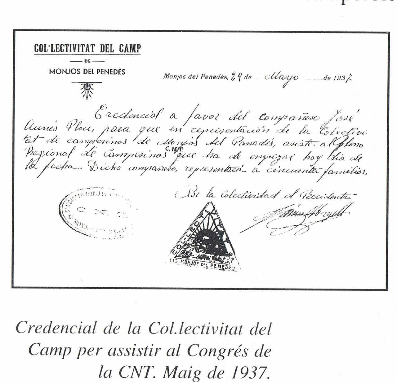 Credencial Colectivitat de Monjos del Penedès...
