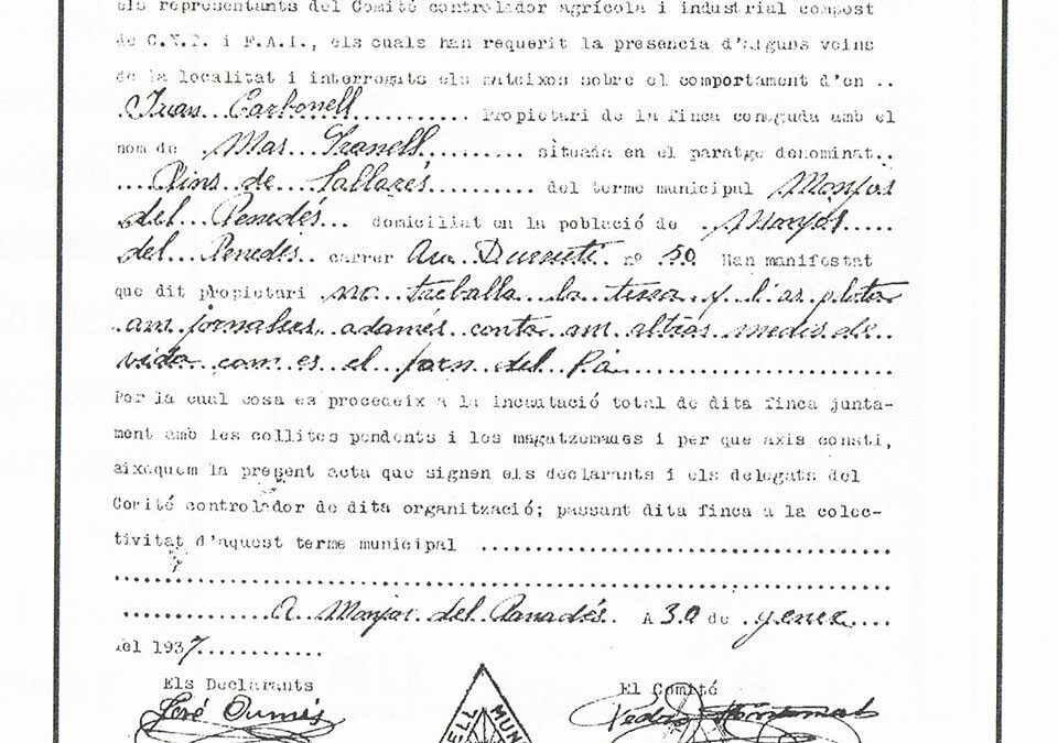 Acta d'incautació de la finca de Mas Granell. 30 de gener de 1937