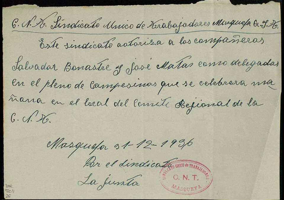 Acreditació Masquefa Desembre 1936 AHN