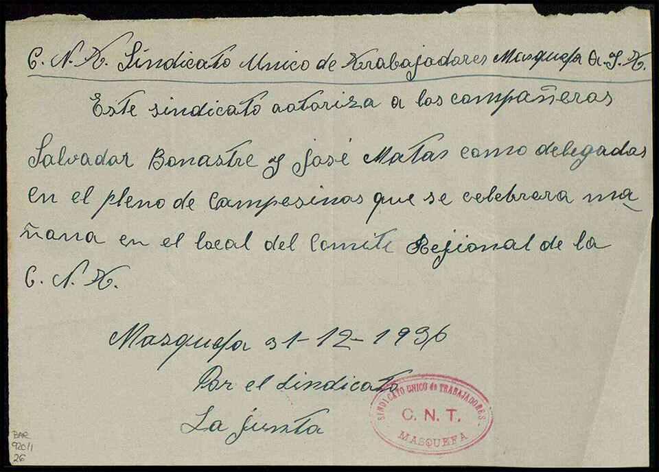 Acreditació Masquefa Desembre 1936 AHN...